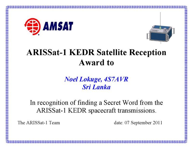 4S7AVR ARIS Sat Award